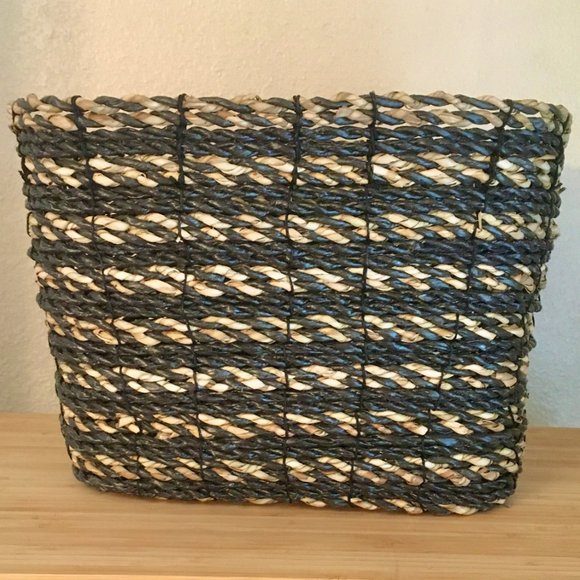 "Pottery Barn Charcoal/Natural Basket 12.5"" SQ x 8"""